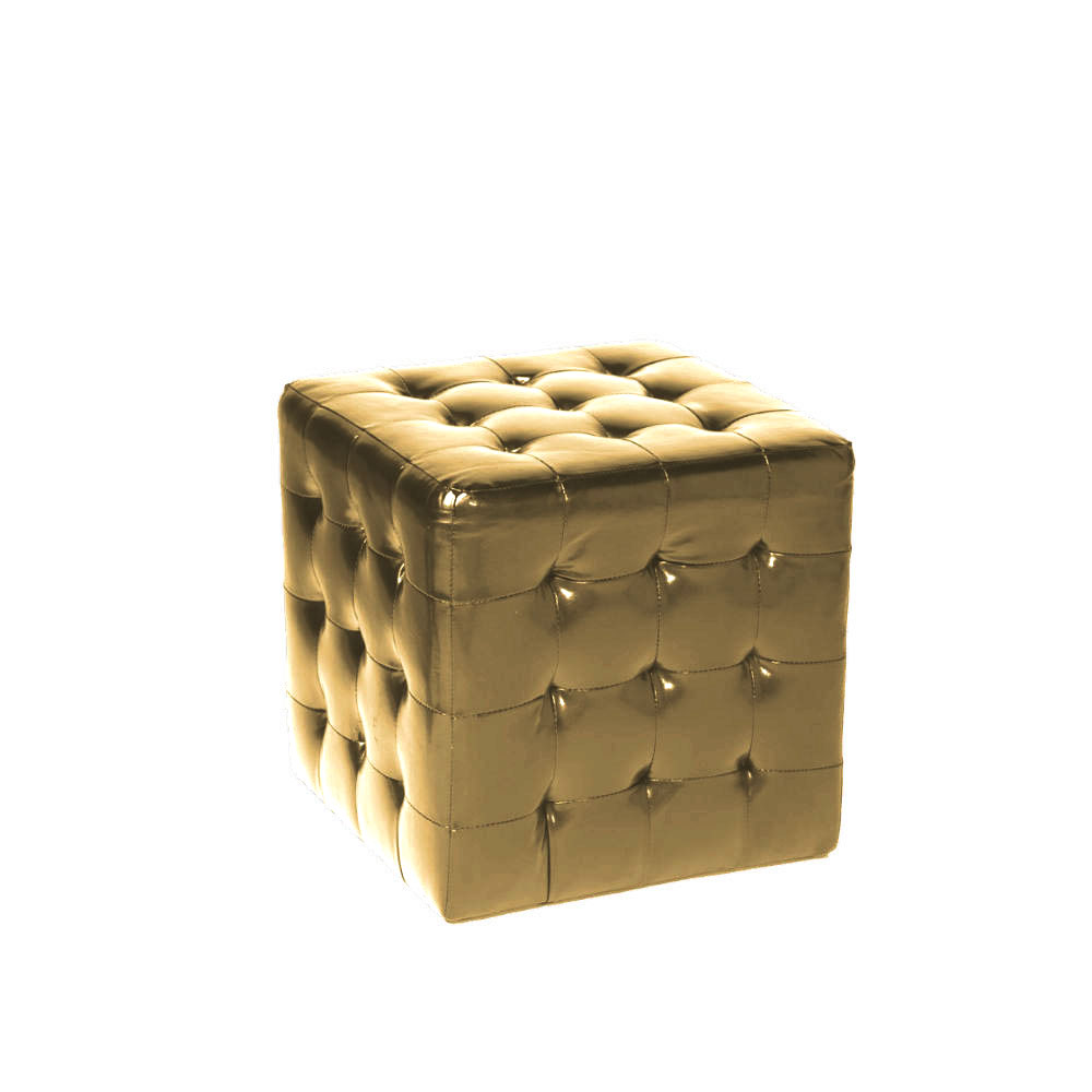 Terrific Square Tufted Ottoman Gold Ruth Fischl Event Rental Customarchery Wood Chair Design Ideas Customarcherynet
