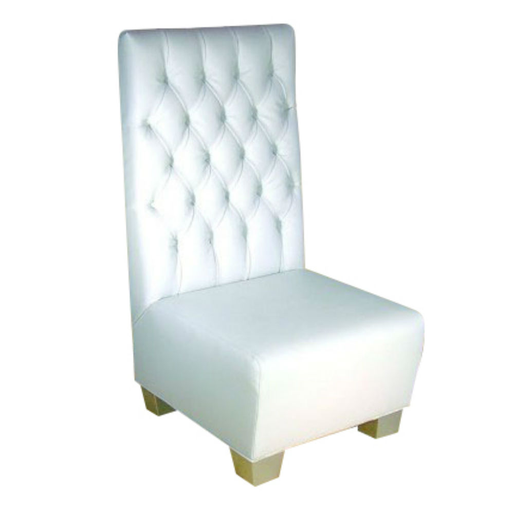 High Back Tufted Chair White Ruth Fischl Event Rental