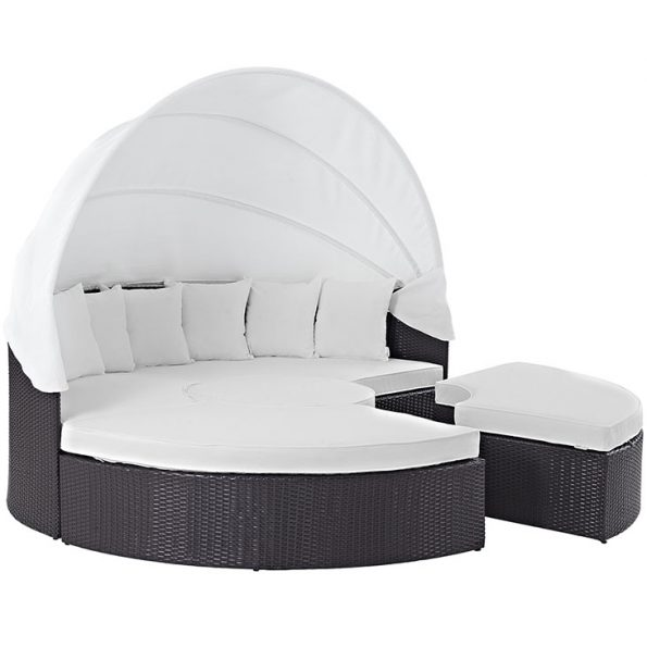 Coronado Canopy Outdoor Patio Daybed Espresso & White 2