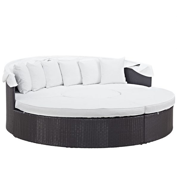 Coronado Canopy Outdoor Patio Daybed Espresso & White 3