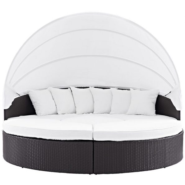 Coronado Canopy Outdoor Patio Daybed Espresso & White 4
