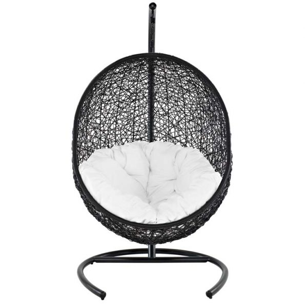 Gemma Swing Outdoor Patio Lounge Chair Espresso & White 2