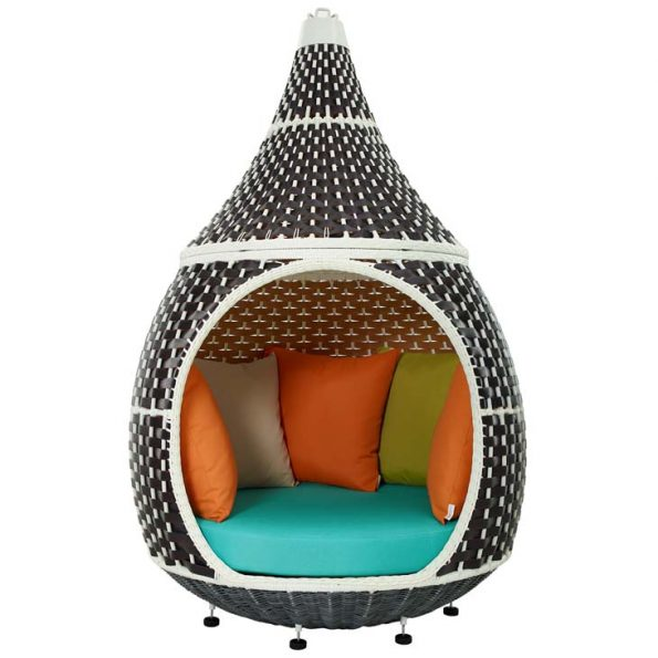Royal Outdoor Patio Wicker Rattan Hanging Pod Brown Turquoise 2