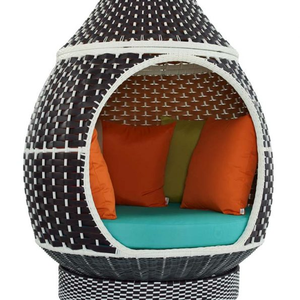 Royal Outdoor Patio Wicker Rattan Hanging Pod Brown Turquoise 3